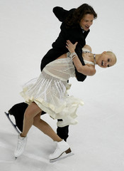 Domnina and Shabalin  of Russia perform during their Ice Dancing Compulsory Dance at the European Figure Skating Championships in Helsinki