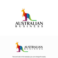 Australian Business Logo, colorful kangaroo logo designs template