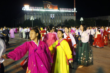 BEST QUALITY AVAILABLE  North Koreans dance during celebrations in Kim Il Sung square in Pyongyang