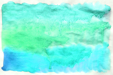 Colorful blue green turquoise watercolor background for wallpaper. Aquarelle bright color illustration