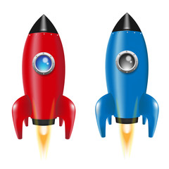 Set Rocket. Red. Blue. vector illustration