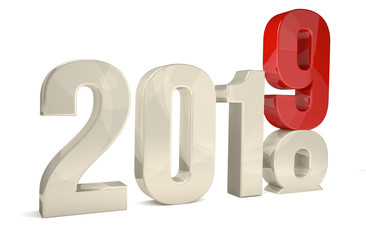 2019 new year 3d rendering symbol isolated