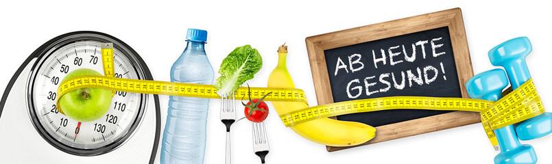 Ab heute gesund fitness diät ernährung motivation konzept panorama hintergrund isoliert