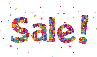 sale sign with colorful confetti background