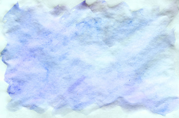 Colorful blue watercolor background for wallpaper. Aquarelle bright color illustration