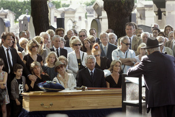 France's Prime Minister Dominique de Villepin attends funeral of French film director Oury in Paris