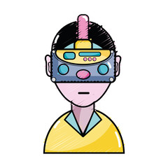 head boy with 3d eyeglasses virtual experience game