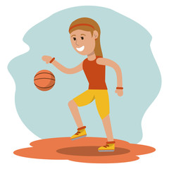 cartoon girl playing basketball sport design vector illustration