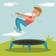 boy practicing jumping trampoline sport design vector illustration