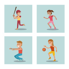 set kids playing physical education school sport image vector illustration