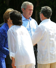 President Bush and first lady Laura Bush greets Colombian President Uribe and first Lady Lina Uribe.