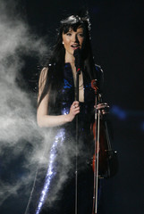 Urban Symphony's singer and violinist Nurmsalu of Estonia performs during a rehearsal for the Eurovision Song Contest final in Moscow