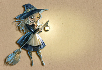 Halloween background illustration with a beautiful witch