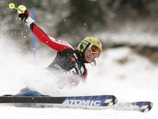 Schild of Austria crashes in first heat of women's World Cup slalom.