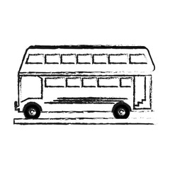 blurred silhouette two floor bus transport vector illustration