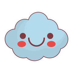 kawaii cloud icon over white background. vector illustration