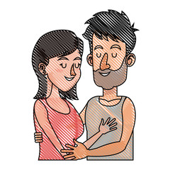 drawing embracing couple relationship together vector illustration