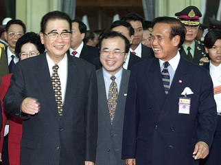 CHINA'S LI PENG ARRIVES IN BANGKOK FOR A VISIT TO THAILAND.