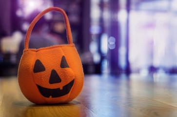 halloween bag on wood table