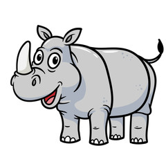 Friendly Cartoon Rhinoceros Smiling Vector Illustration