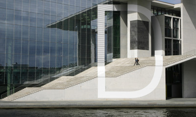 A letter installation  is seen on the facade of a the Marie-Elisabeth-Lueders building in Berlin