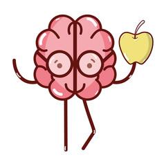 icon adorable kawaii brain eating apple