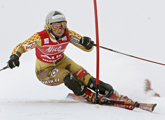 ANJA PAERSON OF SWEDEN CLEARS A GATE TO WIN THE WOMEN'S ALPINE SKIING WORLD CUP SLALOM IN MEGEVE.