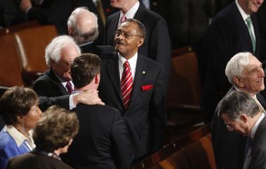U.S. Senator Burris stands among his colleagues in Washington