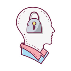 color silhouette head with padlock inside