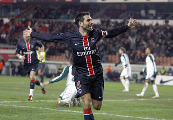 Paris St Germain's Pauleta of Portugal celebrates goal in in Paris