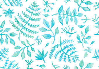 Hand drawn seamless pattern (tiling) with watercolor leaves, flowers, and branches. Isolated objects on a white background. Floral clip art perfect for floral design projects, pattern fills.