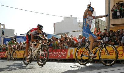 "Garmin Slipstream rider Farrar celebrates after winning 11th stage of the Tour of Spain ""La Vuelta"" cycling race"