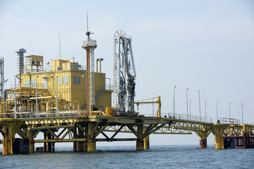 Offshore platform in south of Thailand, Metal background