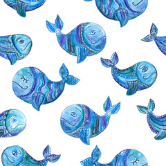 Hand drawn seamless pattern (tiling) with whales. Watercolor painting of a blue whales with decoration of a flowers, dots. Isolated objects on a white background.
