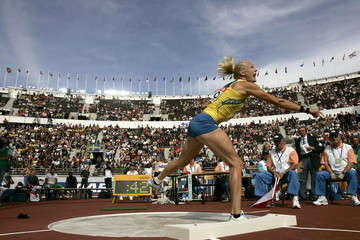 Kluft of Sweden competes in shot put section of women's heptathlon at world athletics championships ...