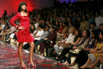 A model presents a creation by Indian designer Singh in New Delhi