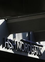 Picture of the HSH Nordbank logo over the entrance to the headquarters of the bank in Hamburg