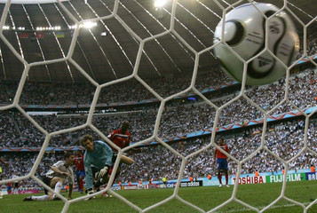 Costa Rica's Paulo Wanchope scores his second goal against Germany in Munich