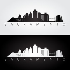 Sacramento USA skyline and landmarks silhouette, black and white design.