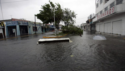 A street is flooded after Hurricane Dean hits Chetumal in the state of Quintana Roo