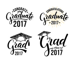 Set of graduation labels. Vector isolated elements for graduation design, congratulation event, party, high school or college graduate. Congratulations graduate 2017