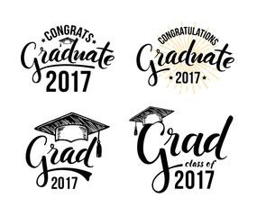 Set of graduation labels. Vector isolated elements for graduation design, congratulation event, party, high school or college graduate. Congratulations graduate 2017