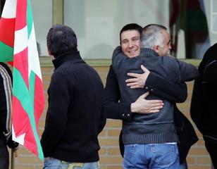 Leader of the outlawed Basque separatist party Batasuna Arnaldo Otegi (C, facing the camera) is welc..