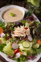 Fresh green salad with chicken and lettuce Fresh summer background Healthy eating