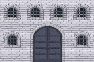 Medieval castle wall with doors and barred windows. Hand drawn sketch