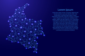 Map of Colombia from polygonal blue lines and glowing stars vector illustration
