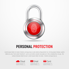 Square white banner with a hinged metal lock and a fingerprint.
