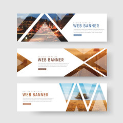 Wall Mural - set of horizontal white banners with triangular shapes for a photo.