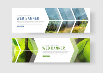 web banners with a place for photos in the form of an arrow and a pointer.