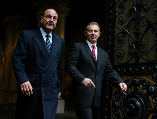 Britain's Prime Minister Tony Blair and French President Jacques Chirac arrive in Downing Street in London.